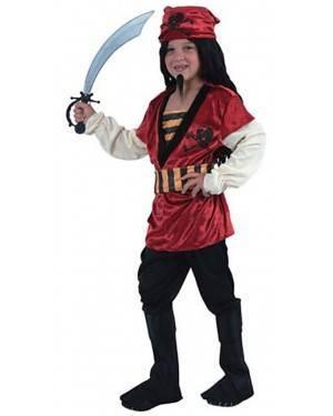 Fato Pirata Vermelho Menino
