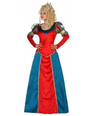 Fato Rainha Medieval Vermehlo Azul Adulto