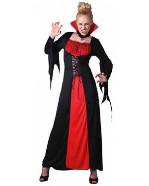 Fato Vampira Vermelha e Preta Adulto