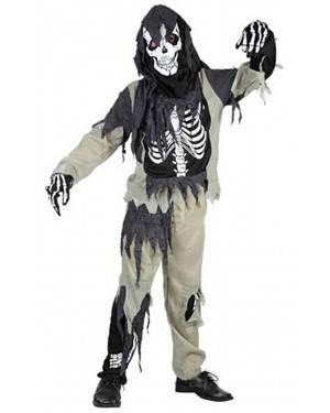 Fato Zombie Esqueleto Menino