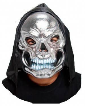 Máscara Crânio Prata com Capuz