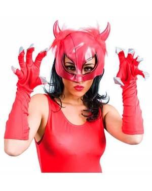 Máscara Demônio Vermelho com Luvas