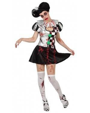 Fato Arlequim Sangrento Zombie Mulher, Loja de Fatos Carnaval, Disfarces, Artigos para Festas, Acessórios de Carnaval, Mascaras, Perucas 298 acasadocarnaval.pt