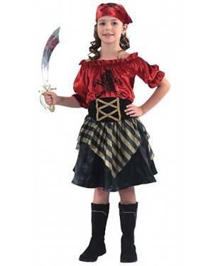 Fato Pirata Vermelha Menina para Carnaval e Festas