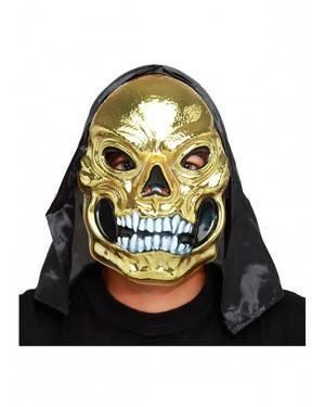 Máscara Crânio Ouro com Capuz para Carnaval e Festas