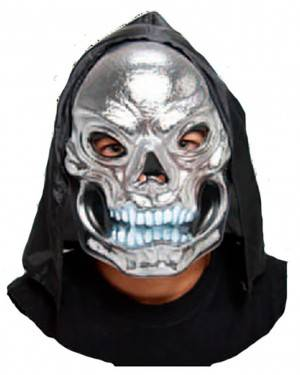 Máscara Crânio Prata com Capuz para Carnaval e Festas