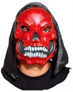Máscara Crânio Vermelho com Capuz (3 Unidades) para Carnaval e Festas