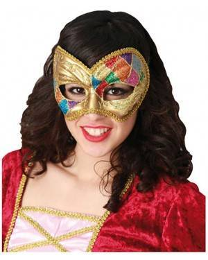 Mascarilha Arlequim Veneza, Loja de Fatos Carnaval, Disfarces, Artigos para Festas, Acessórios de Carnaval, Mascaras, Perucas, Chapeus 721 acasadocarnaval.pt